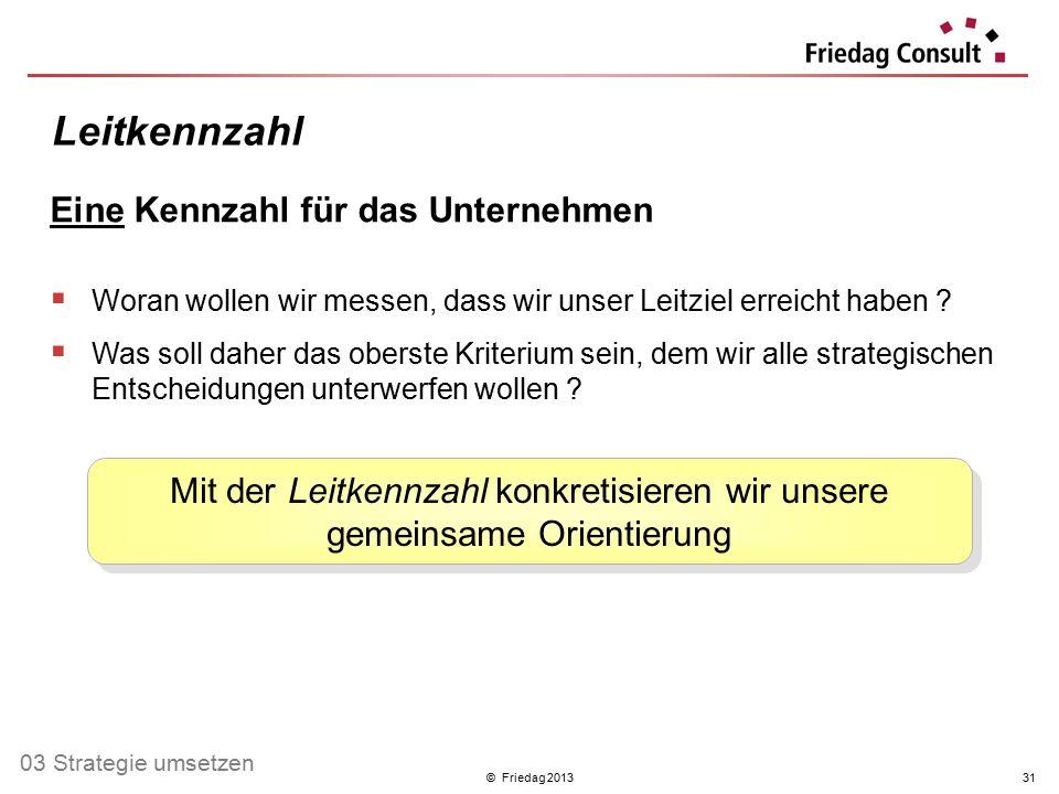 © Friedag 201331 Eine Kennzahl für das Unternehmen  Woran wollen wir messen, dass wir unser Leitziel erreicht haben ?  Was soll daher das oberste Kr
