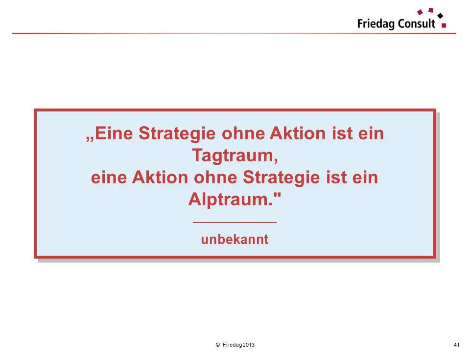 """© Friedag 201341 """"Eine Strategie ohne Aktion ist ein Tagtraum, eine Aktion ohne Strategie ist ein Alptraum."""