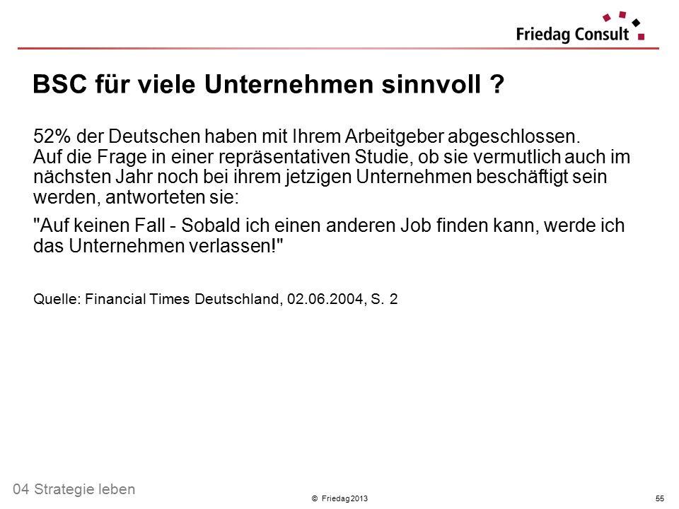 © Friedag 201355 52% der Deutschen haben mit Ihrem Arbeitgeber abgeschlossen. Auf die Frage in einer repräsentativen Studie, ob sie vermutlich auch im