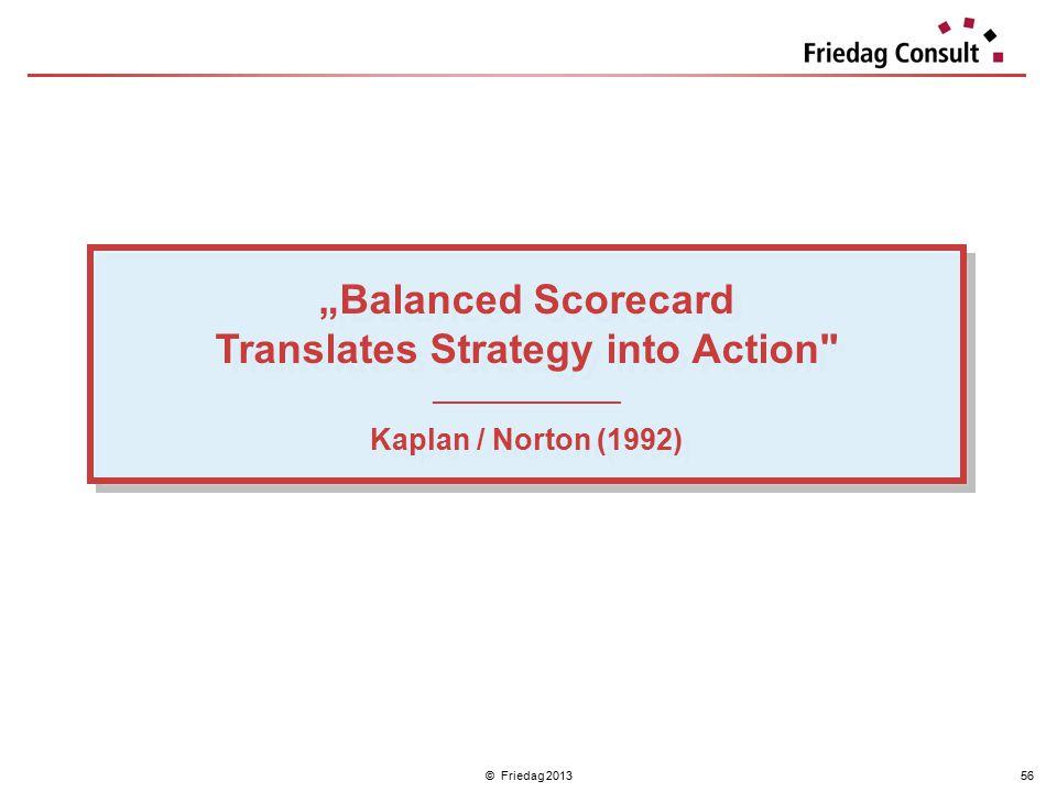 """© Friedag 201356 """"Balanced Scorecard Translates Strategy into Action"""
