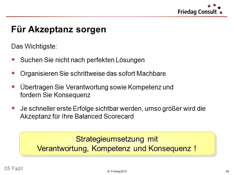© Friedag 201358 Das Wichtigste:  Suchen Sie nicht nach perfekten Lösungen  Organisieren Sie schrittweise das sofort Machbare  Übertragen Sie Veran