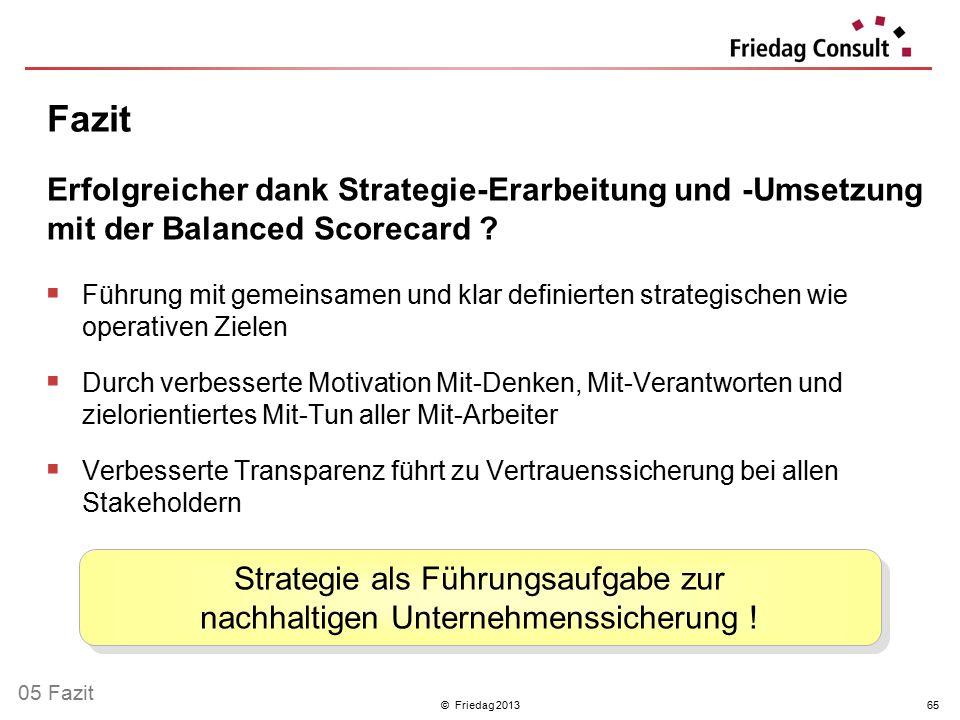 © Friedag 201365  Führung mit gemeinsamen und klar definierten strategischen wie operativen Zielen  Durch verbesserte Motivation Mit-Denken, Mit-Ver