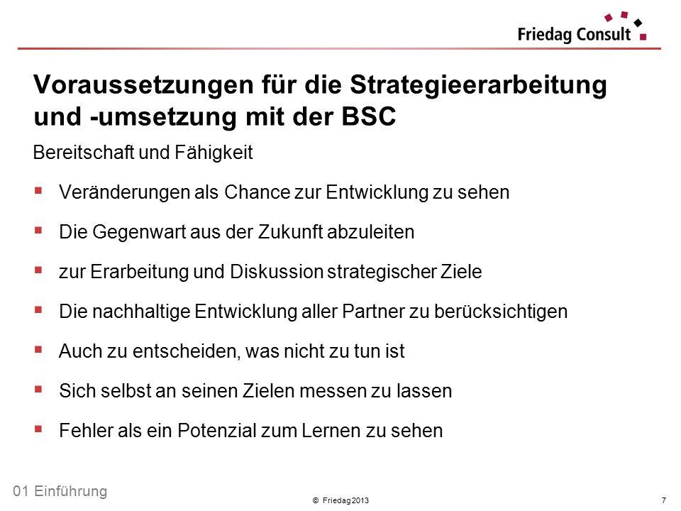 © Friedag 20137 Voraussetzungen für die Strategieerarbeitung und -umsetzung mit der BSC Bereitschaft und Fähigkeit  Veränderungen als Chance zur Entw