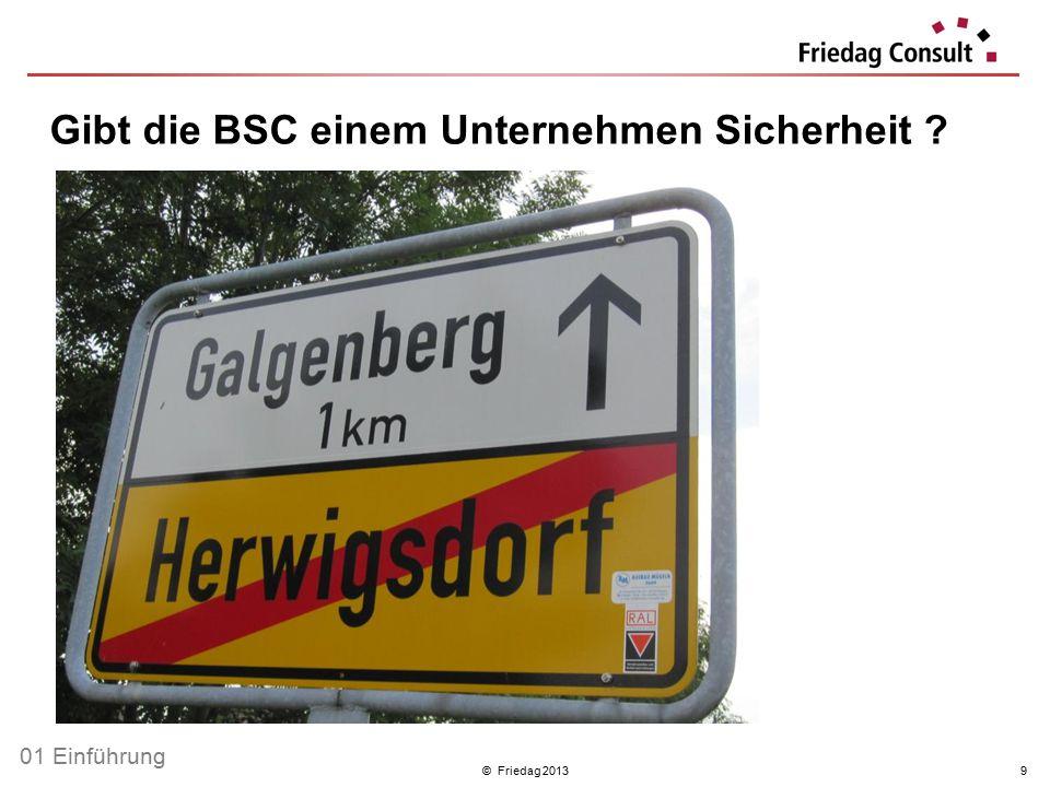 © Friedag 20139 Gibt die BSC einem Unternehmen Sicherheit ? 01 Einführung
