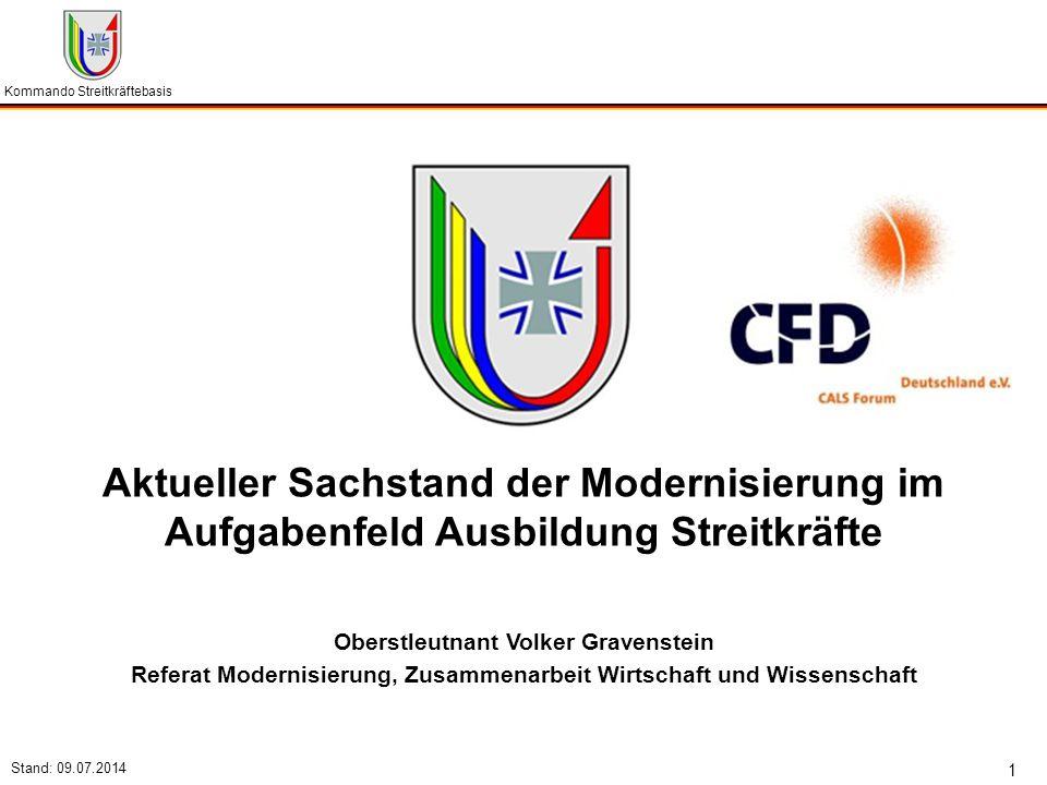 Kommando Streitkräftebasis Stand: 09.07.2014 1 Aktueller Sachstand der Modernisierung im Aufgabenfeld Ausbildung Streitkräfte Oberstleutnant Volker Gr