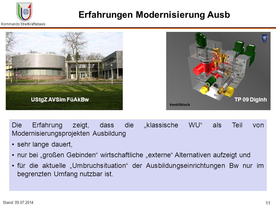 """Kommando Streitkräftebasis Stand: 09.07.2014 11 Erfahrungen Modernisierung Ausb Die Erfahrung zeigt, dass die """"klassische WU"""" als Teil von Modernisier"""