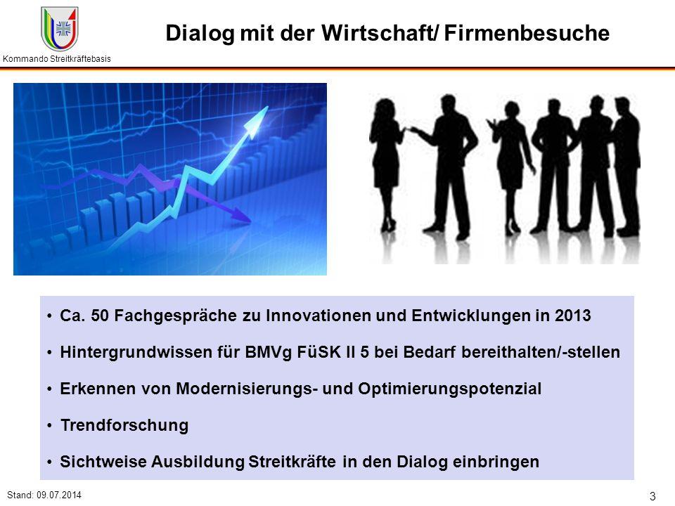 Kommando Streitkräftebasis Stand: 09.07.2014 3 Dialog mit der Wirtschaft/ Firmenbesuche Ca. 50 Fachgespräche zu Innovationen und Entwicklungen in 2013