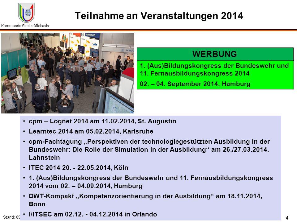 Kommando Streitkräftebasis Stand: 09.07.2014 4 Teilnahme an Veranstaltungen 2014 cpm – Lognet 2014 am 11.02.2014, St. Augustin Learntec 2014 am 05.02.