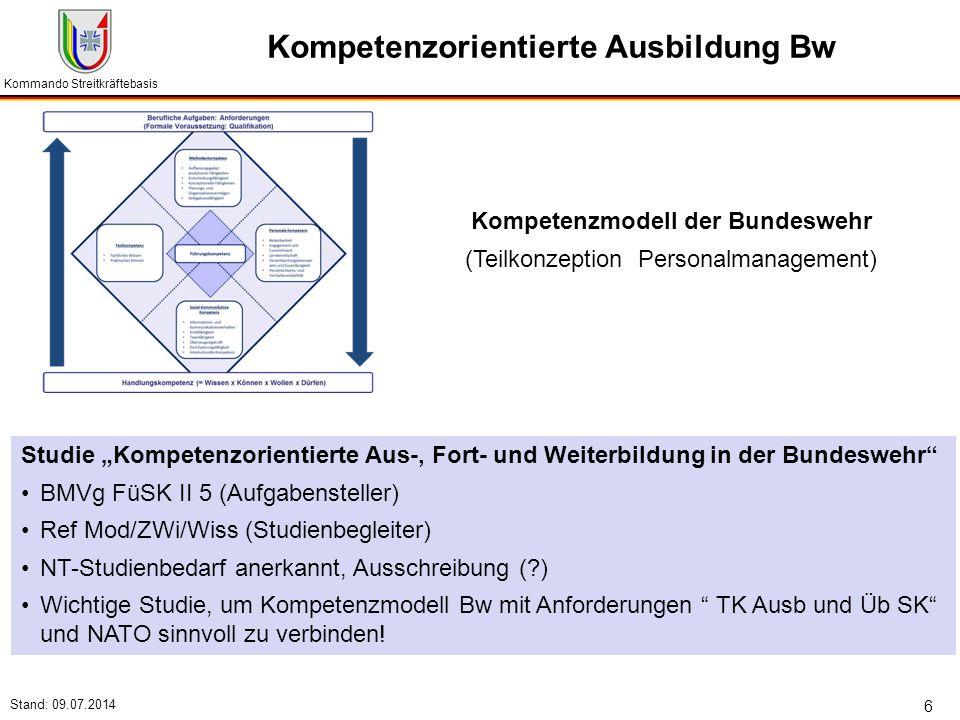 """Kommando Streitkräftebasis Stand: 09.07.2014 6 Kompetenzorientierte Ausbildung Bw Studie """"Kompetenzorientierte Aus-, Fort- und Weiterbildung in der Bu"""