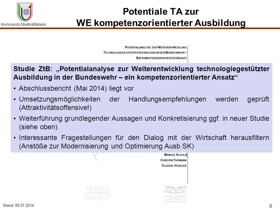 """Kommando Streitkräftebasis Stand: 09.07.2014 8 Potentiale TA zur WE kompetenzorientierter Ausbildung Studie ZtB: """"Potentialanalyse zur Weiterentwicklu"""