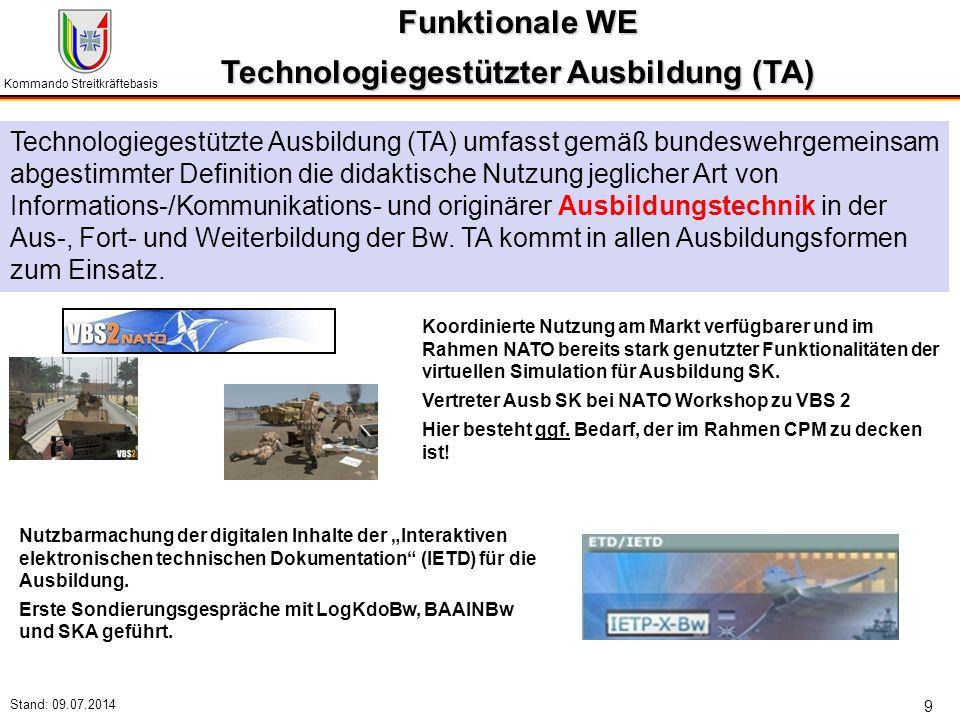 Kommando Streitkräftebasis Stand: 09.07.2014 9 Funktionale WE Technologiegestützter Ausbildung (TA) Technologiegestützte Ausbildung (TA) umfasst gemäß
