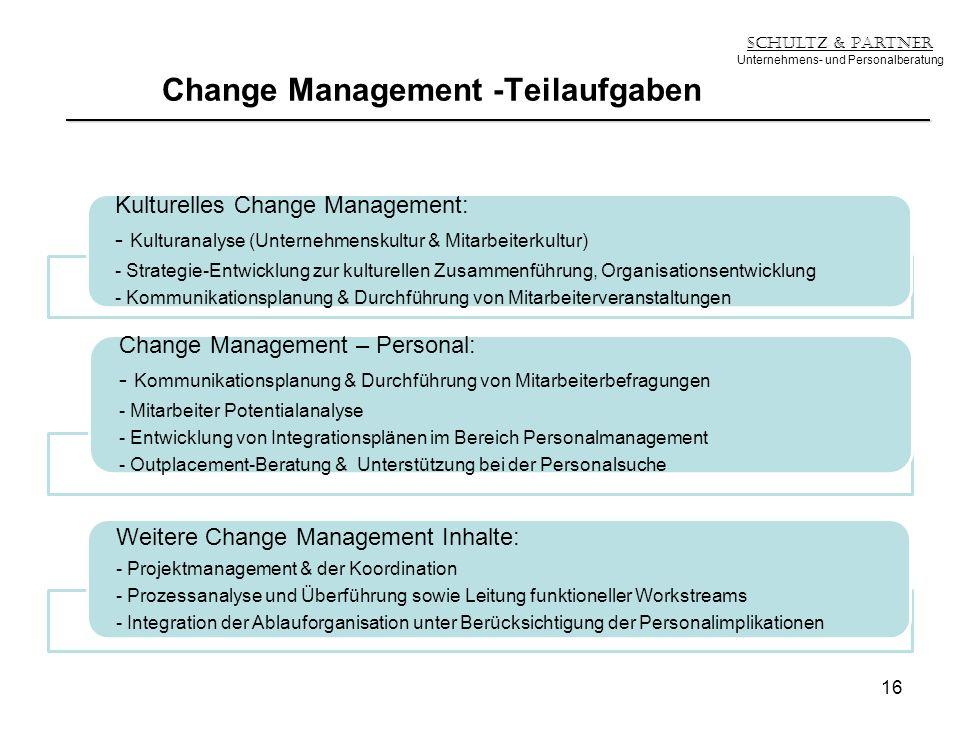 Change Management -Teilaufgaben Schultz & Partner Unternehmens- und Personalberatung Kulturelles Change Management: - Kulturanalyse (Unternehmenskultu