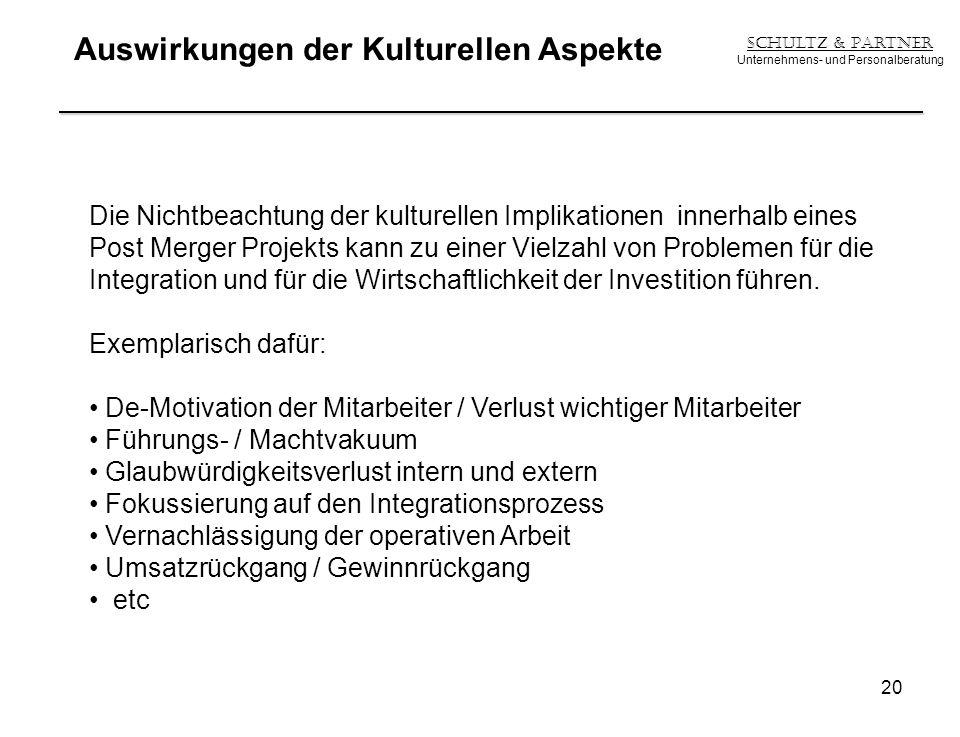 Auswirkungen der Kulturellen Aspekte Schultz & Partner Unternehmens- und Personalberatung 20 Die Nichtbeachtung der kulturellen Implikationen innerhal