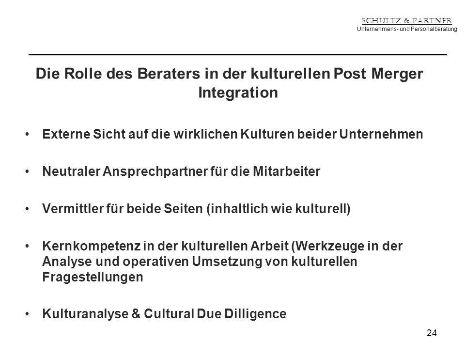 Die Rolle des Beraters in der kulturellen Post Merger Integration Externe Sicht auf die wirklichen Kulturen beider Unternehmen Neutraler Ansprechpartn