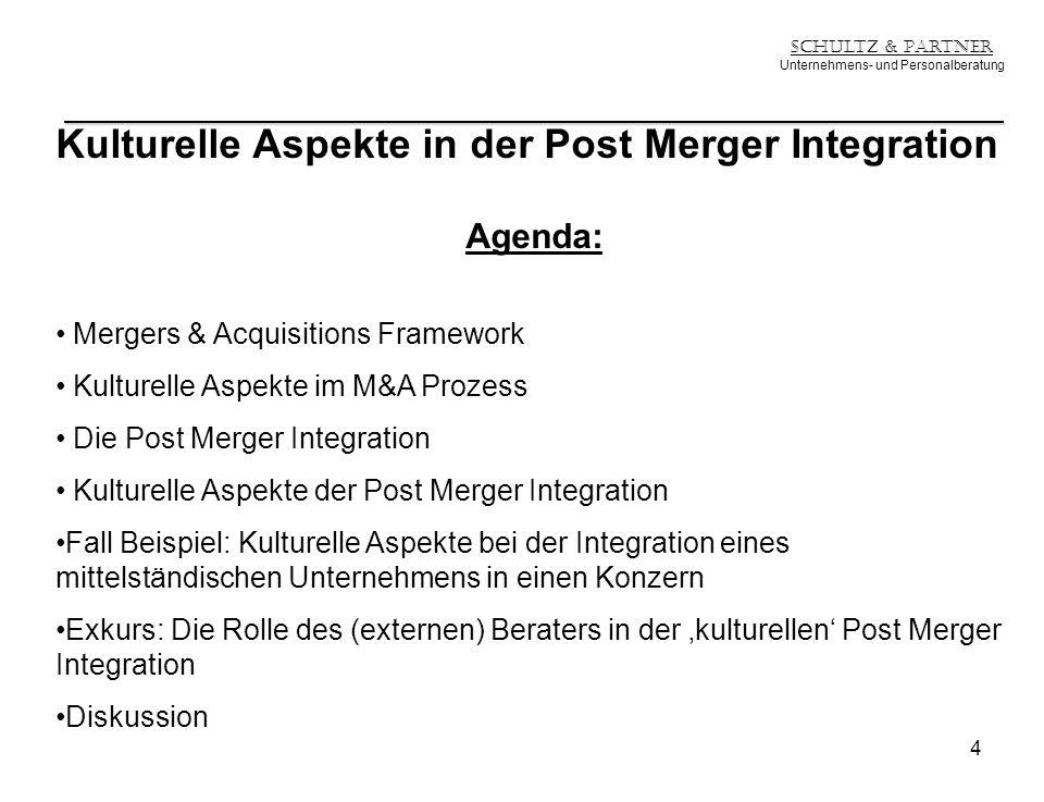 Schultz & Partner Unternehmens- und Personalberatung Kulturelle Aspekte in der Post Merger Integration Agenda: Mergers & Acquisitions Framework Kultur