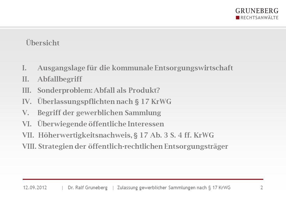 Übersicht 12.09.2012| Dr. Ralf Gruneberg | Zulassung gewerblicher Sammlungen nach § 17 KrWG2 I. Ausgangslage für die kommunale Entsorgungswirtschaft I