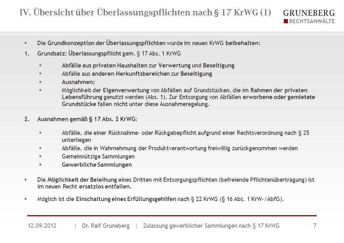 IV. Übersicht über Überlassungspflichten nach § 17 KrWG (1) 12.09.2012| Dr. Ralf Gruneberg | Zulassung gewerblicher Sammlungen nach § 17 KrWG7  Die G