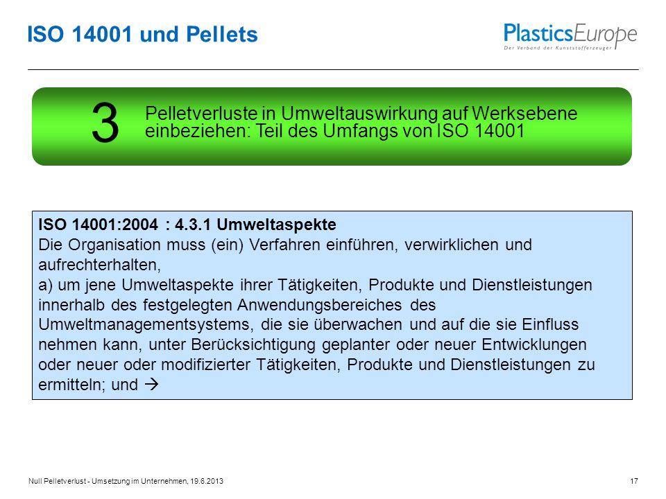 ISO 14001 und Pellets ISO 14001:2004 : 4.3.1 Umweltaspekte Die Organisation muss (ein) Verfahren einführen, verwirklichen und aufrechterhalten, a) um