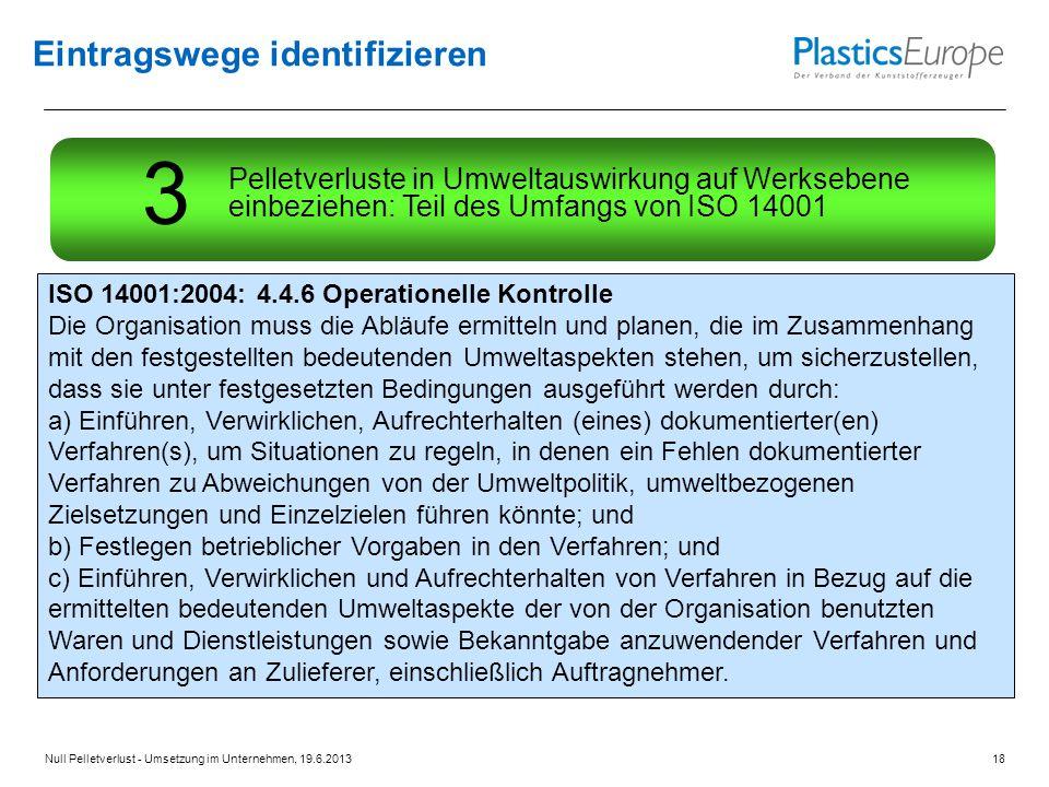Eintragswege identifizieren ISO 14001:2004: 4.4.6 Operationelle Kontrolle Die Organisation muss die Abläufe ermitteln und planen, die im Zusammenhang mit den festgestellten bedeutenden Umweltaspekten stehen, um sicherzustellen, dass sie unter festgesetzten Bedingungen ausgeführt werden durch: a) Einführen, Verwirklichen, Aufrechterhalten (eines) dokumentierter(en) Verfahren(s), um Situationen zu regeln, in denen ein Fehlen dokumentierter Verfahren zu Abweichungen von der Umweltpolitik, umweltbezogenen Zielsetzungen und Einzelzielen führen könnte; und b) Festlegen betrieblicher Vorgaben in den Verfahren; und c) Einführen, Verwirklichen und Aufrechterhalten von Verfahren in Bezug auf die ermittelten bedeutenden Umweltaspekte der von der Organisation benutzten Waren und Dienstleistungen sowie Bekanntgabe anzuwendender Verfahren und Anforderungen an Zulieferer, einschließlich Auftragnehmer.