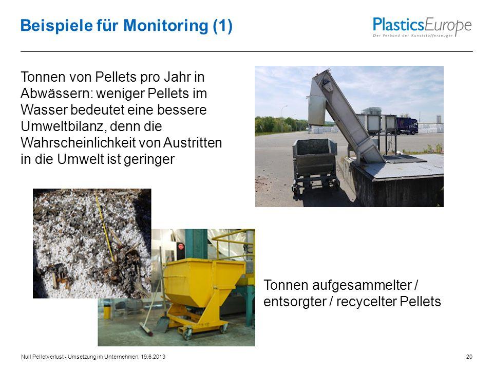 Beispiele für Monitoring (1) Tonnen von Pellets pro Jahr in Abwässern: weniger Pellets im Wasser bedeutet eine bessere Umweltbilanz, denn die Wahrscheinlichkeit von Austritten in die Umwelt ist geringer Tonnen aufgesammelter / entsorgter / recycelter Pellets Null Pelletverlust - Umsetzung im Unternehmen, 19.6.201320