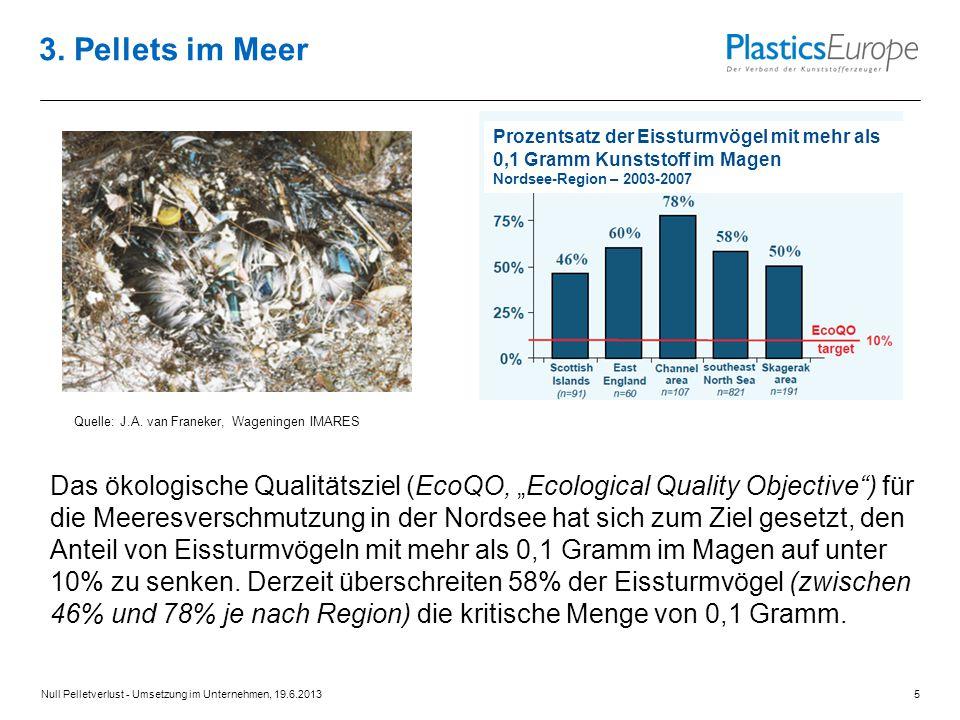 """Das ökologische Qualitätsziel (EcoQO, """"Ecological Quality Objective ) für die Meeresverschmutzung in der Nordsee hat sich zum Ziel gesetzt, den Anteil von Eissturmvögeln mit mehr als 0,1 Gramm im Magen auf unter 10% zu senken."""
