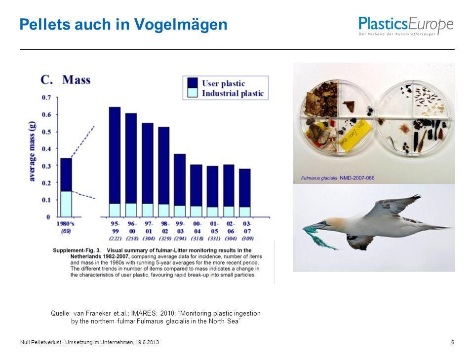"""Pellets auch in Vogelmägen Null Pelletverlust - Umsetzung im Unternehmen, 19.6.20136 Quelle: van Franeker et.al.; IMARES; 2010; """"Monitoring plastic in"""