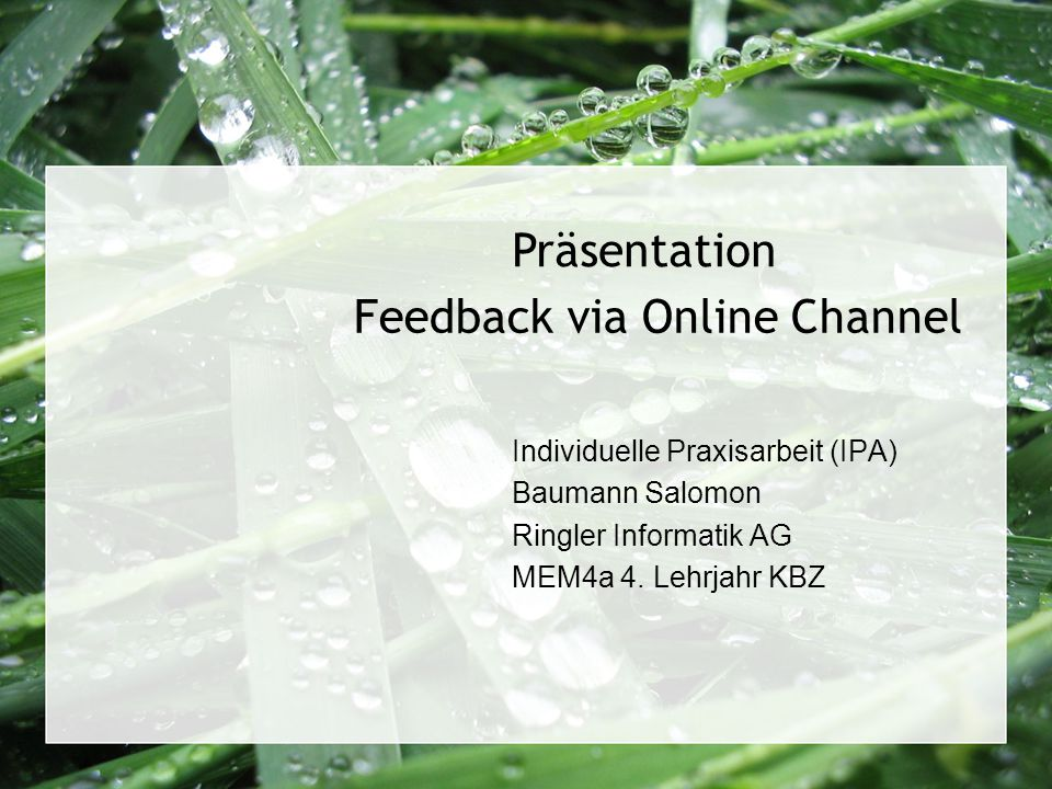 Feedback via Online Channel Individuelle Praxisarbeit (IPA) Baumann Salomon Ringler Informatik AG MEM4a 4. Lehrjahr KBZ Präsentation