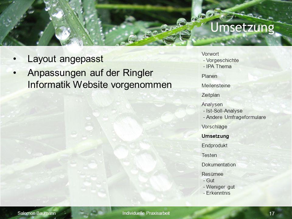 Salomon BaumannIndividuelle Praxisarbeit 17 Umsetzung Layout angepasst Anpassungen auf der Ringler Informatik Website vorgenommen Vorwort - Vorgeschic