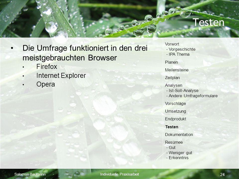 Salomon BaumannIndividuelle Praxisarbeit 24 Testen Die Umfrage funktioniert in den drei meistgebrauchten Browser Firefox Internet Explorer Opera Vorwo