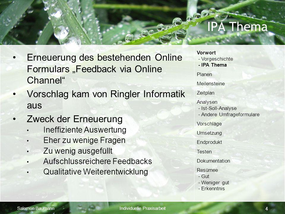 """Salomon BaumannIndividuelle Praxisarbeit 4 IPA Thema Erneuerung des bestehenden Online Formulars """"Feedback via Online Channel"""" Vorschlag kam von Ringl"""