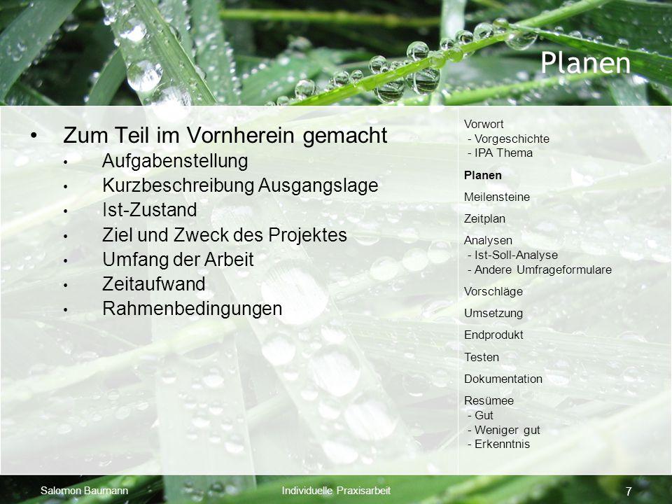 Salomon BaumannIndividuelle Praxisarbeit 7 Planen Zum Teil im Vornherein gemacht Aufgabenstellung Kurzbeschreibung Ausgangslage Ist-Zustand Ziel und Z