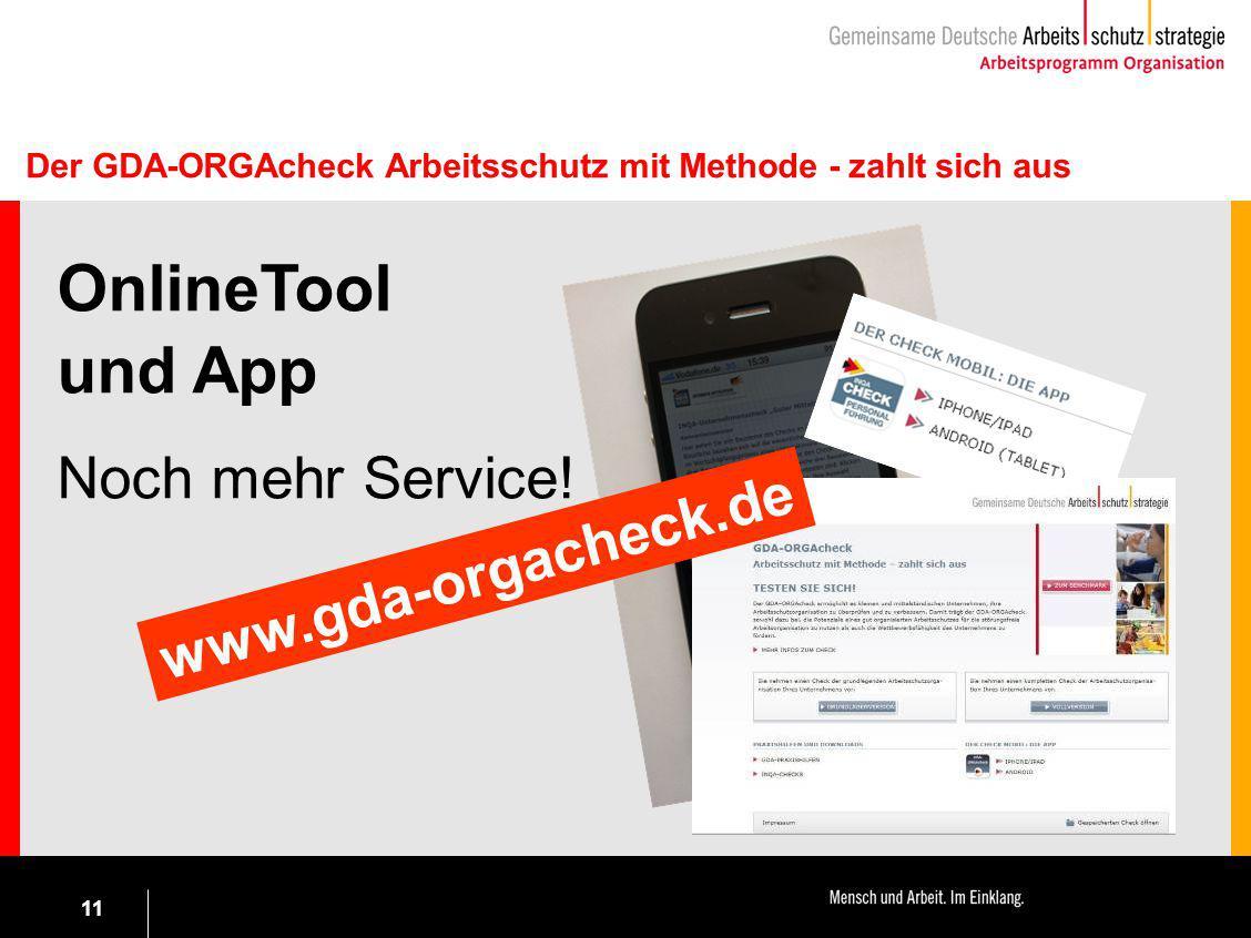 11 OnlineTool und App Noch mehr Service! www.gda-orgacheck.de Der GDA-ORGAcheck Arbeitsschutz mit Methode - zahlt sich aus