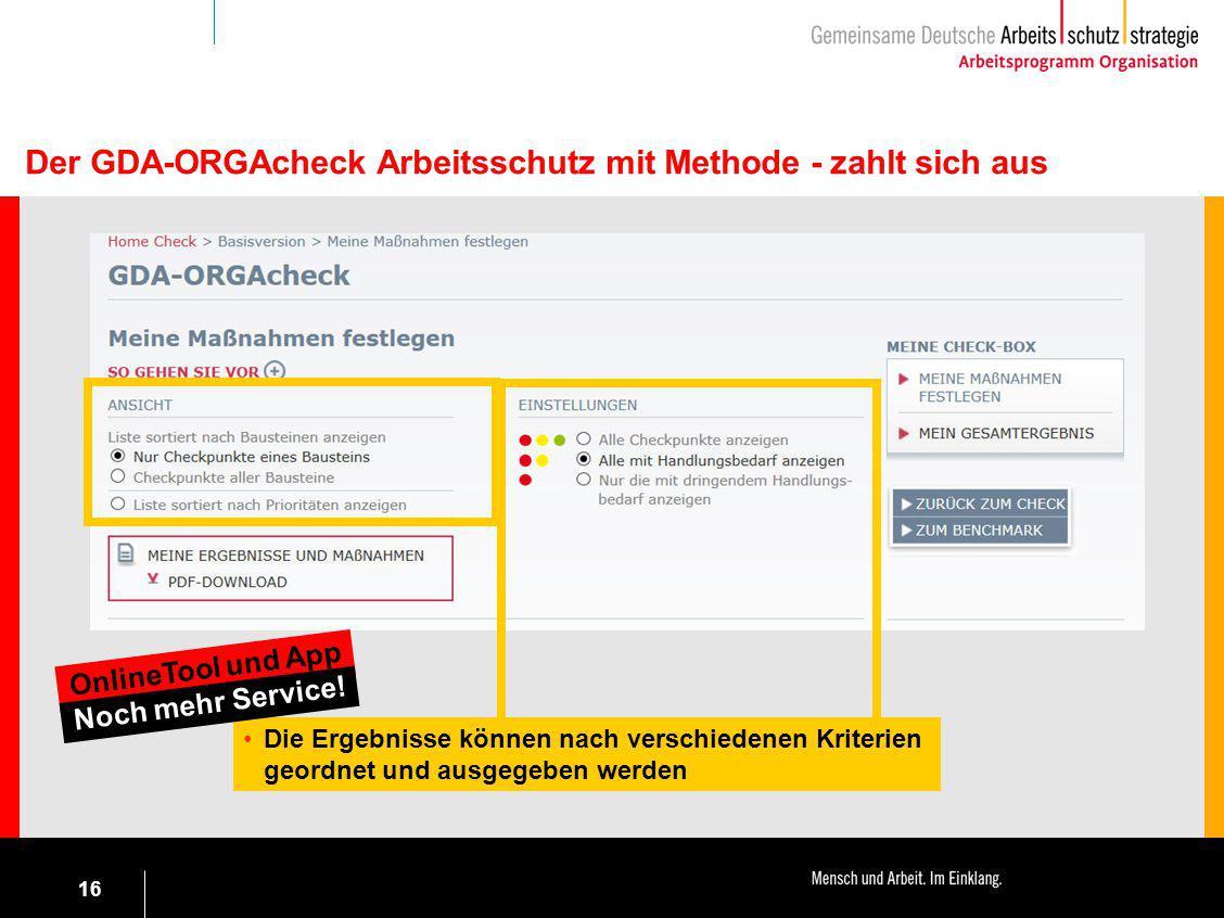 16 Der GDA-ORGAcheck Arbeitsschutz mit Methode - zahlt sich aus Die Ergebnisse können nach verschiedenen Kriterien geordnet und ausgegeben werden Onli