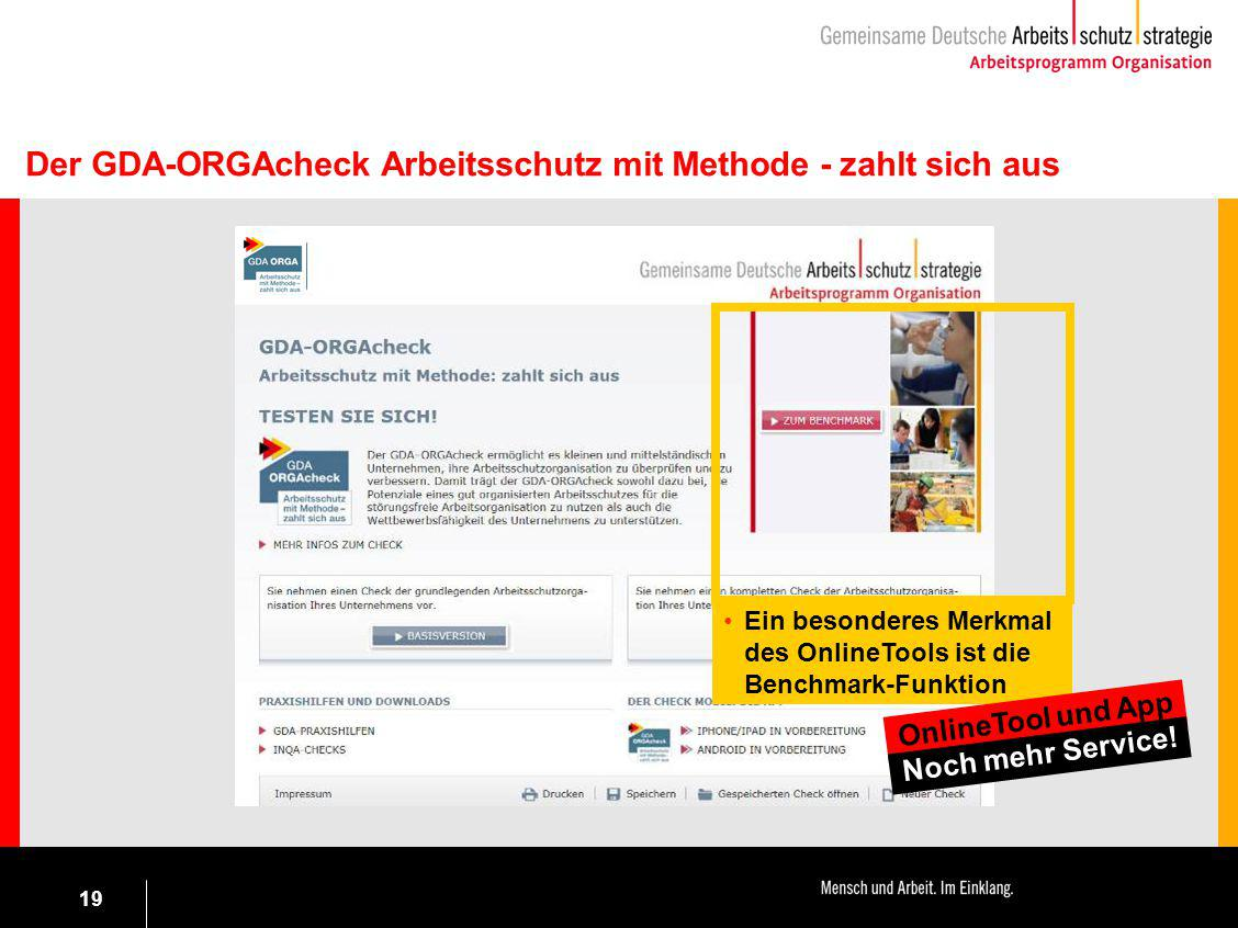 19 Ein besonderes Merkmal des OnlineTools ist die Benchmark-Funktion Der GDA-ORGAcheck Arbeitsschutz mit Methode - zahlt sich aus OnlineTool und App N