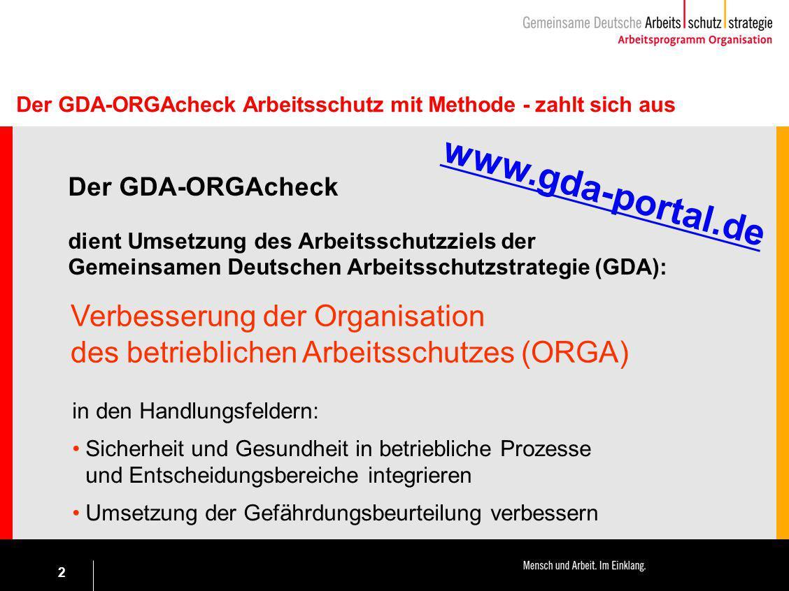 2 Der GDA-ORGAcheck Arbeitsschutz mit Methode - zahlt sich aus Der GDA-ORGAcheck dient Umsetzung des Arbeitsschutzziels der Gemeinsamen Deutschen Arbe