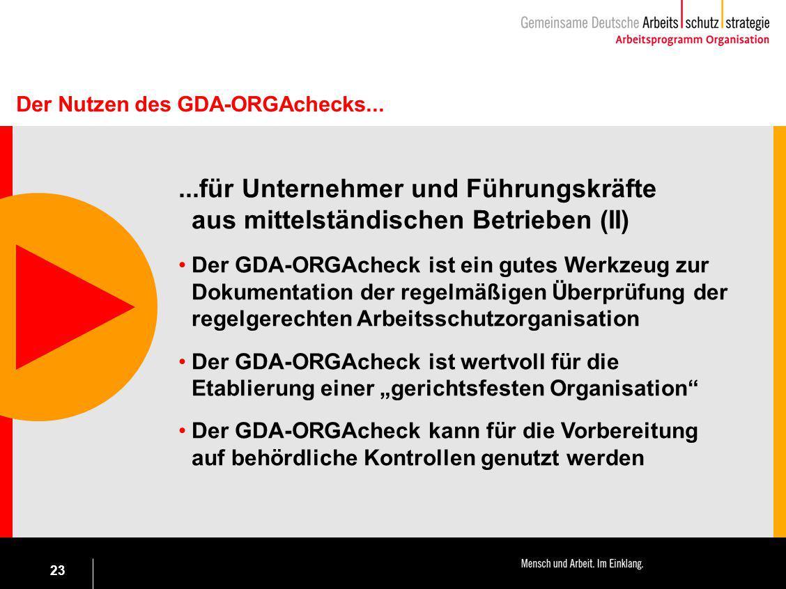 23...für Unternehmer und Führungskräfte aus mittelständischen Betrieben (II) Der GDA-ORGAcheck ist ein gutes Werkzeug zur Dokumentation der regelmäßig