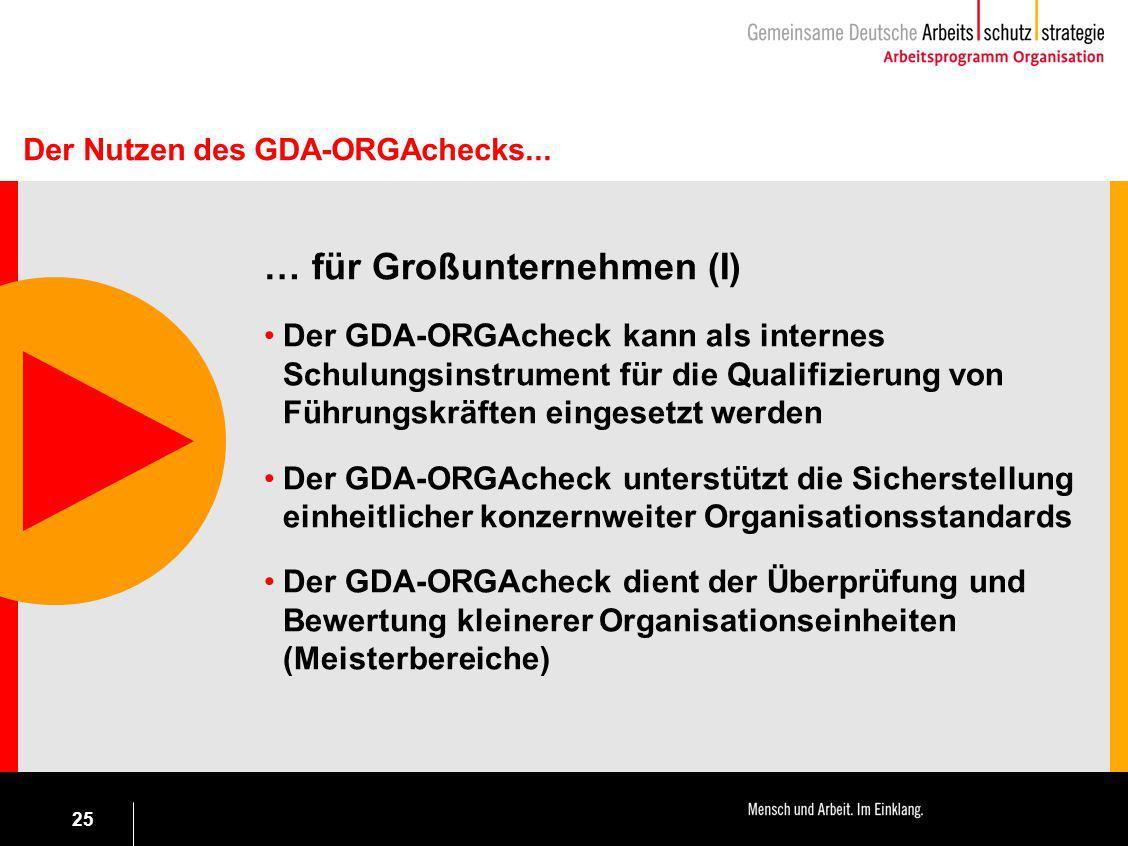 25 … für Großunternehmen (I) Der GDA-ORGAcheck kann als internes Schulungsinstrument für die Qualifizierung von Führungskräften eingesetzt werden Der