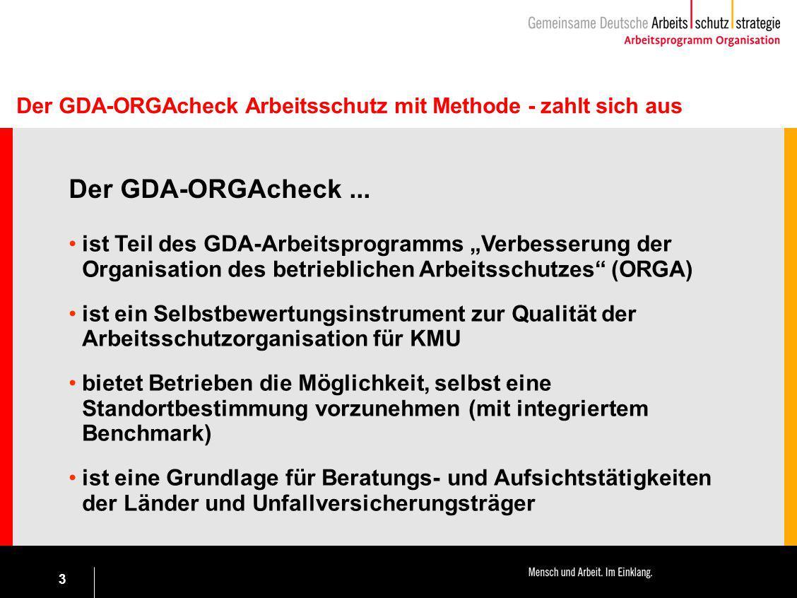 """3 ist Teil des GDA-Arbeitsprogramms """"Verbesserung der Organisation des betrieblichen Arbeitsschutzes"""" (ORGA) ist ein Selbstbewertungsinstrument zur Qu"""
