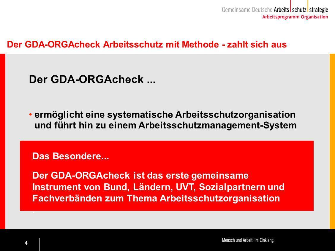 4 Der GDA-ORGAcheck Arbeitsschutz mit Methode - zahlt sich aus Der GDA-ORGAcheck... ermöglicht eine systematische Arbeitsschutzorganisation und führt