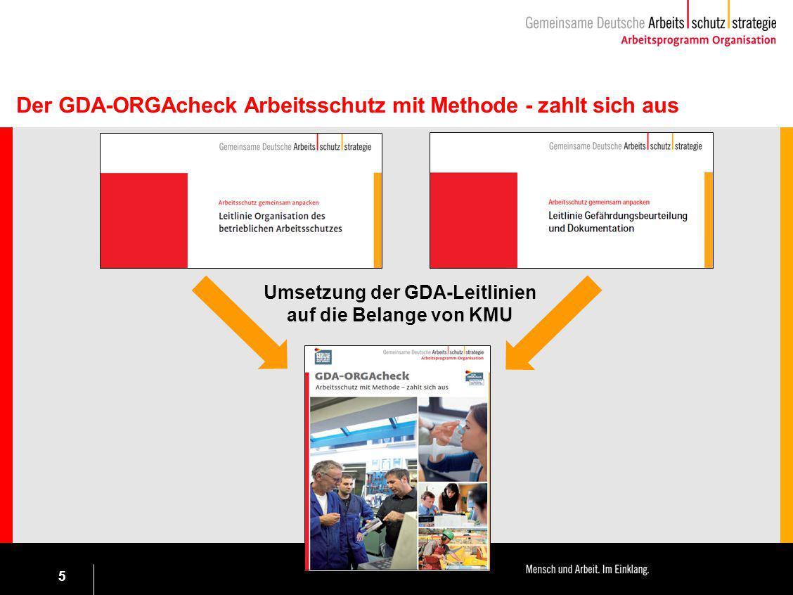 5 Umsetzung der GDA-Leitlinien auf die Belange von KMU Der GDA-ORGAcheck Arbeitsschutz mit Methode - zahlt sich aus