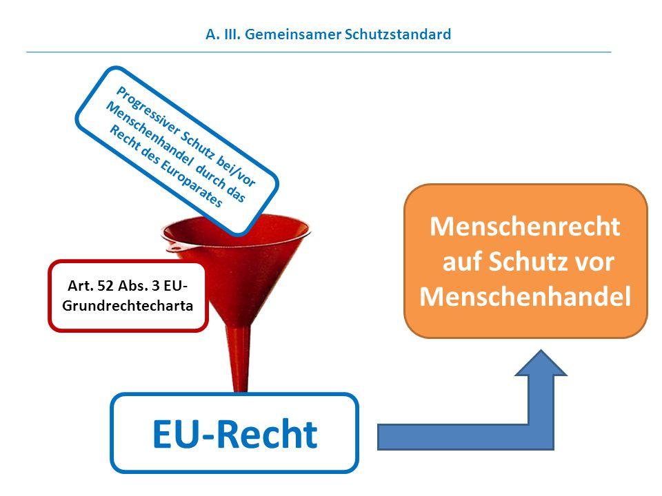 Art. 52 Abs. 3 EU- Grundrechtecharta Progressiver Schutz bei/vor Menschenhandel durch das Recht des Europarates A. III. Gemeinsamer Schutzstandard EU-