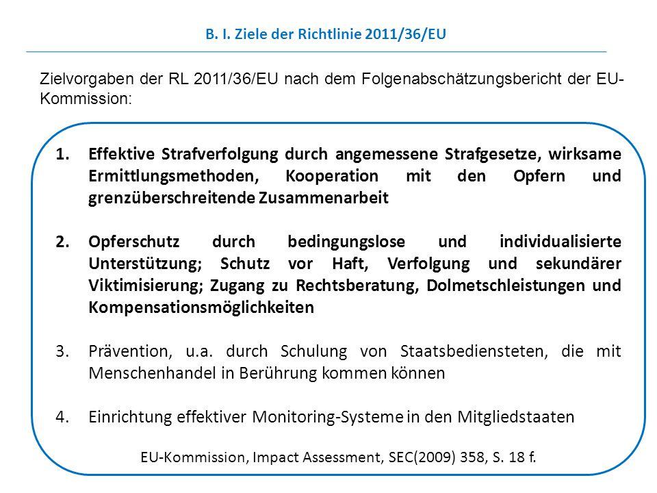 1.Effektive Strafverfolgung durch angemessene Strafgesetze, wirksame Ermittlungsmethoden, Kooperation mit den Opfern und grenzüberschreitende Zusammen
