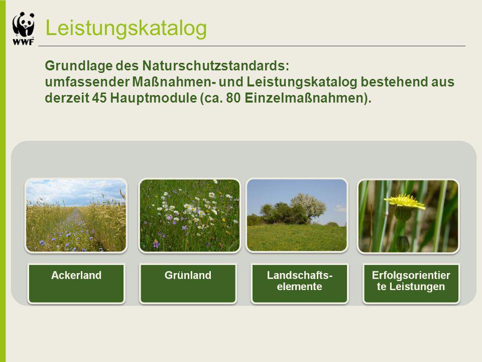 Leistungskatalog Grundlage des Naturschutzstandards: umfassender Maßnahmen- und Leistungskatalog bestehend aus derzeit 45 Hauptmodule (ca. 80 Einzelma