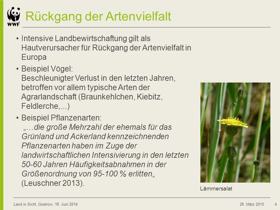 Rückgang der Artenvielfalt Intensive Landbewirtschaftung gilt als Hautverursacher für Rückgang der Artenvielfalt in Europa Beispiel Vögel: Beschleunig