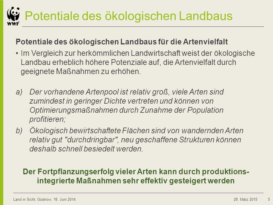 Potentiale des ökologischen Landbaus Potentiale des ökologischen Landbaus für die Artenvielfalt Im Vergleich zur herkömmlichen Landwirtschaft weist de