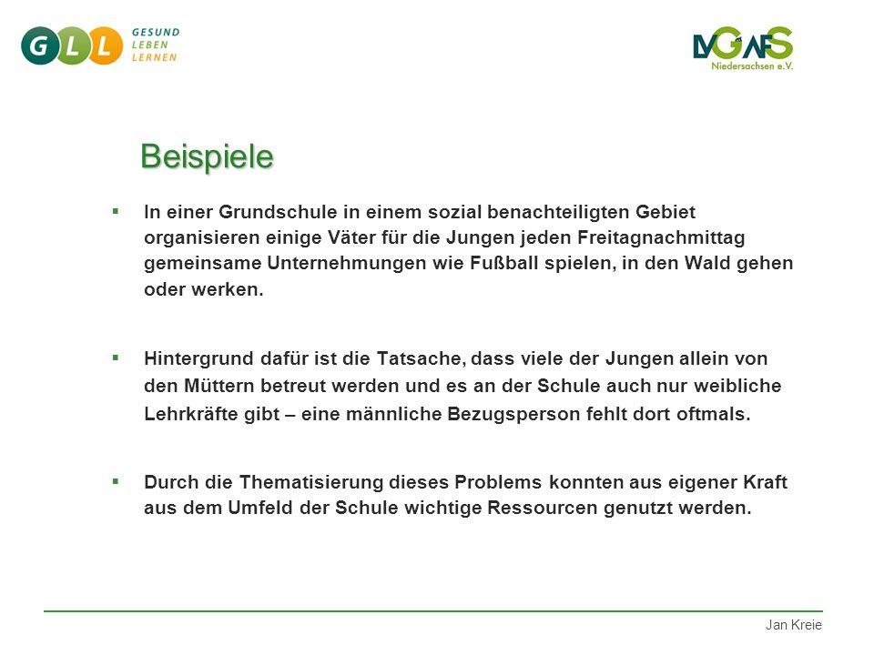 Jan Kreie Beispiele Beispiele  Mit der regelmäßigen Durchführung von Schülertagungen soll den teilnehmenden Kindern und Jugendlichen ihr eigenes Hand