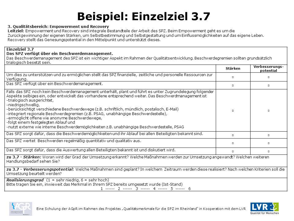 Einzelziel 3.7 Das SPZ verfügt über ein Beschwerdemanagement.
