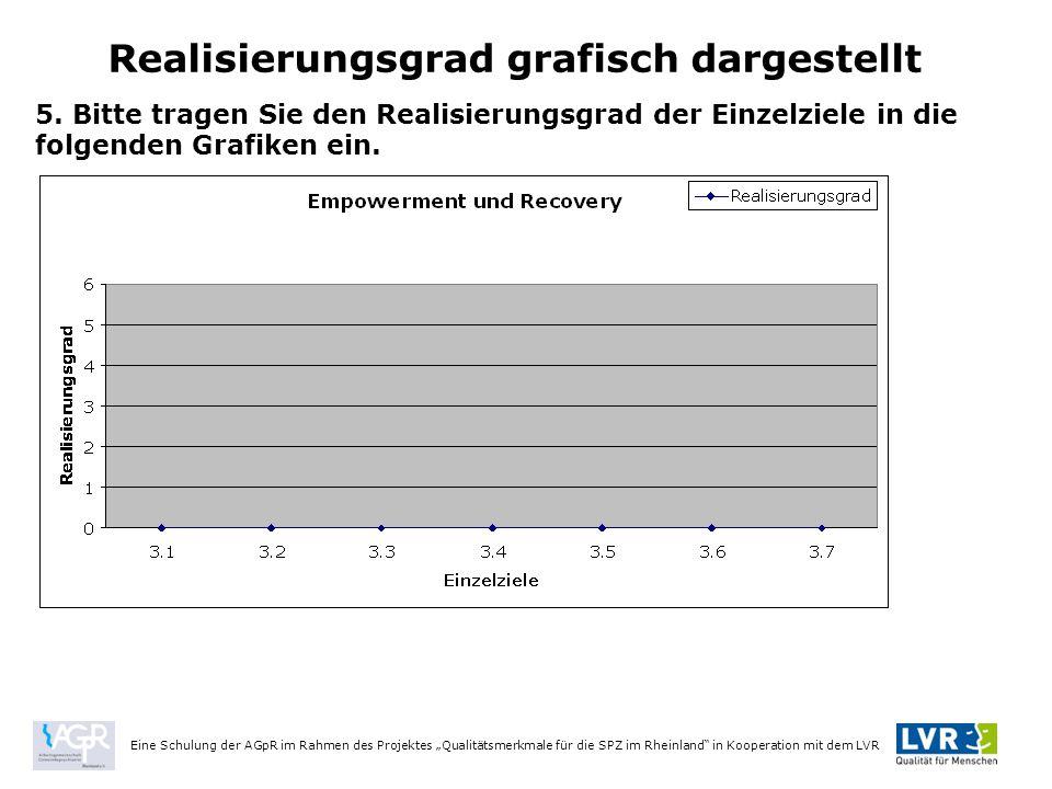 """Eine Schulung der AGpR im Rahmen des Projektes """"Qualitätsmerkmale für die SPZ im Rheinland in Kooperation mit dem LVR Realisierungsgrad grafisch dargestellt 5."""