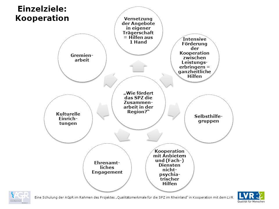 """Einzelziele: Kooperation Eine Schulung der AGpR im Rahmen des Projektes """"Qualitätsmerkmale für die SPZ im Rheinland in Kooperation mit dem LVR """"Wie fördert das SPZ die Zusammen- arbeit in der Region? Vernetzung der Angebote in eigener Trägerschaft = Hilfen aus 1 Hand Intensive Förderung der Kooperation zwischen Leistungs- erbringern = ganzheitliche Hilfen Selbsthilfe- gruppen Kooperation mit Anbietern und (Fach-) Diensten nicht- psychia- trischer Hilfen Ehrenamt- liches Engagement Kulturelle Einrich- tungen Gremien- arbeit"""
