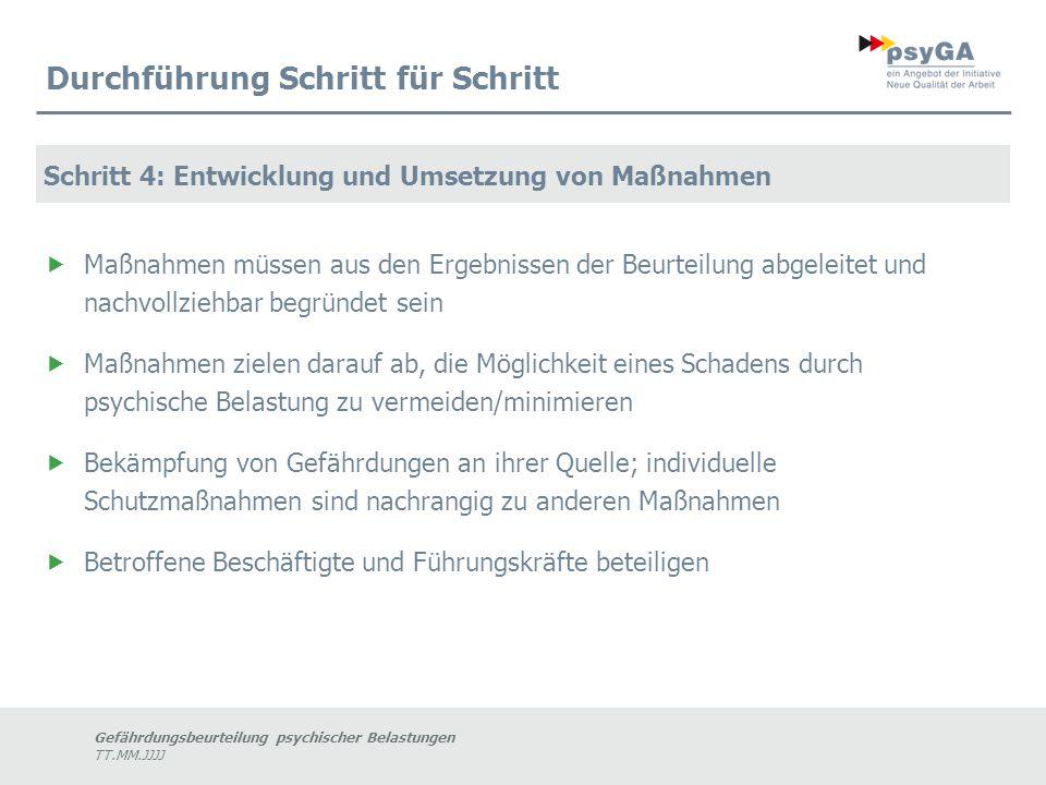 Gefährdungsbeurteilung psychischer Belastungen TT.MM.JJJJ Durchführung Schritt für Schritt Schritt 4: Entwicklung und Umsetzung von Maßnahmen  Maßnah